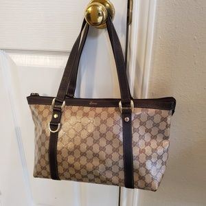 Gucci Crystal Abbey Tote Bag Authentic brown